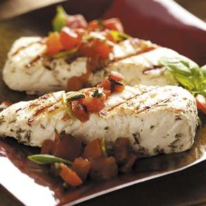 Halibut with Basil Tomato Sauce