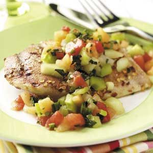 Spiced Chicken with Melon Salsa