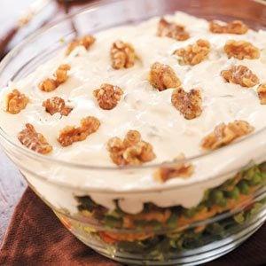 Layered Salad with Walnuts