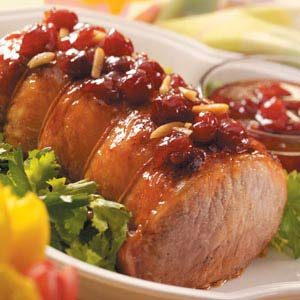 Roast Pork with Cherry-Almond Glaze