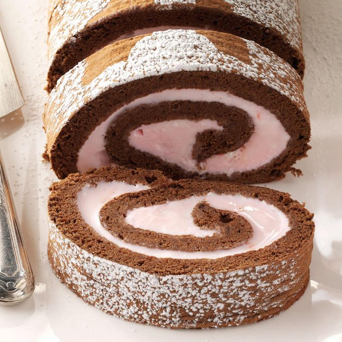 Chocolate & Peppermint Ice Cream Roll
