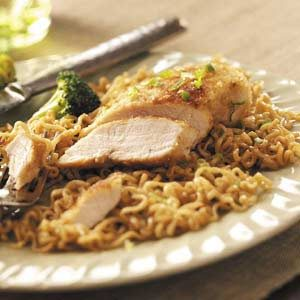 Chicken over Curly Noodles