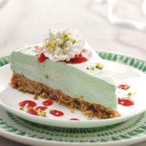 Frozen Pistachio Dessert with Raspberry Sauce