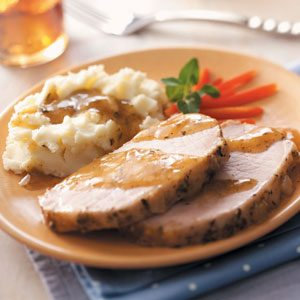 Pork Roast with Mashed Potatoes and Gravy
