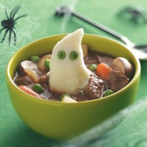 Beef Stew with Ghoulish Mashed Potatoes