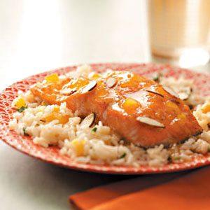 Apricot-Glazed Salmon with Herb Rice
