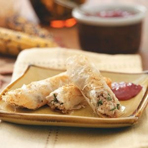 Turkey Cigars with Cranberry-Dijon Dipping Sauce