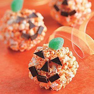 Jack-o'-Lantern Popcorn Balls