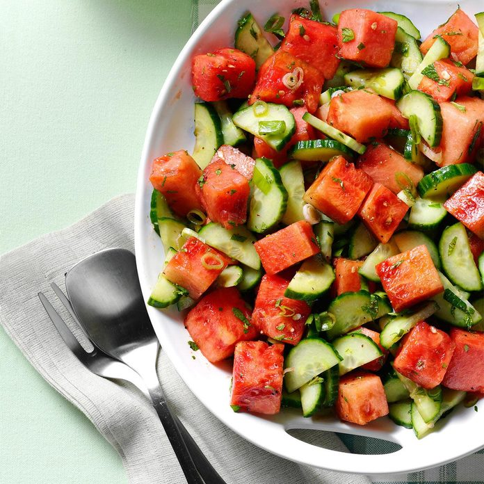 Minty Watermelon-Cucumber Salad