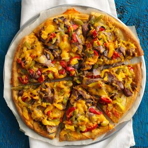 Fast Philly Cheesesteak Pizza
