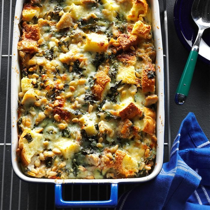 Pesto Chicken Strata