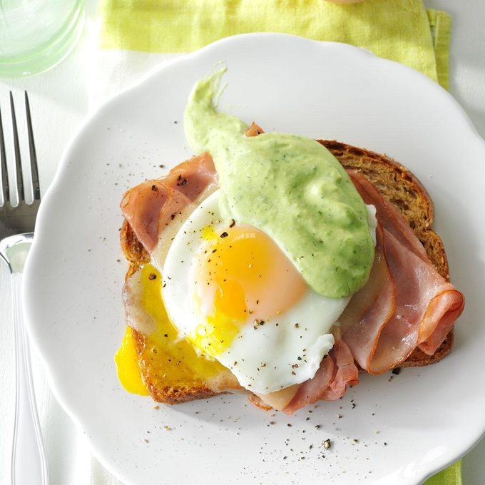 Southwestern Eggs Benedict with Avocado Sauce