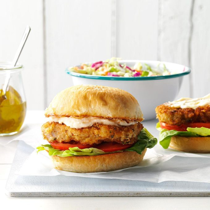Crispy Pork Tenderloin Sandwiches