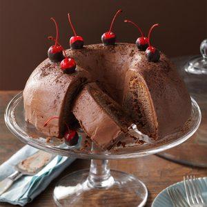 Chocolate-Cherry Brownie Cake