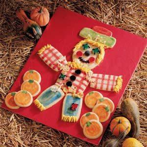 Sugar Cookie Scarecrow and Pumpkins