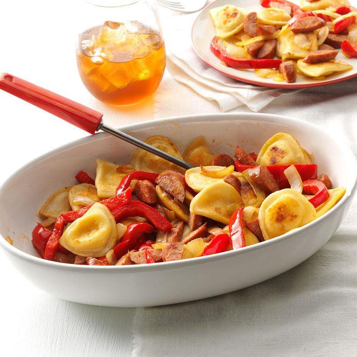 Sausage & Pepper Pierogi Skillet