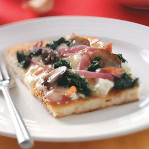 Spinach, Mushroom & Three-Cheese Pizza
