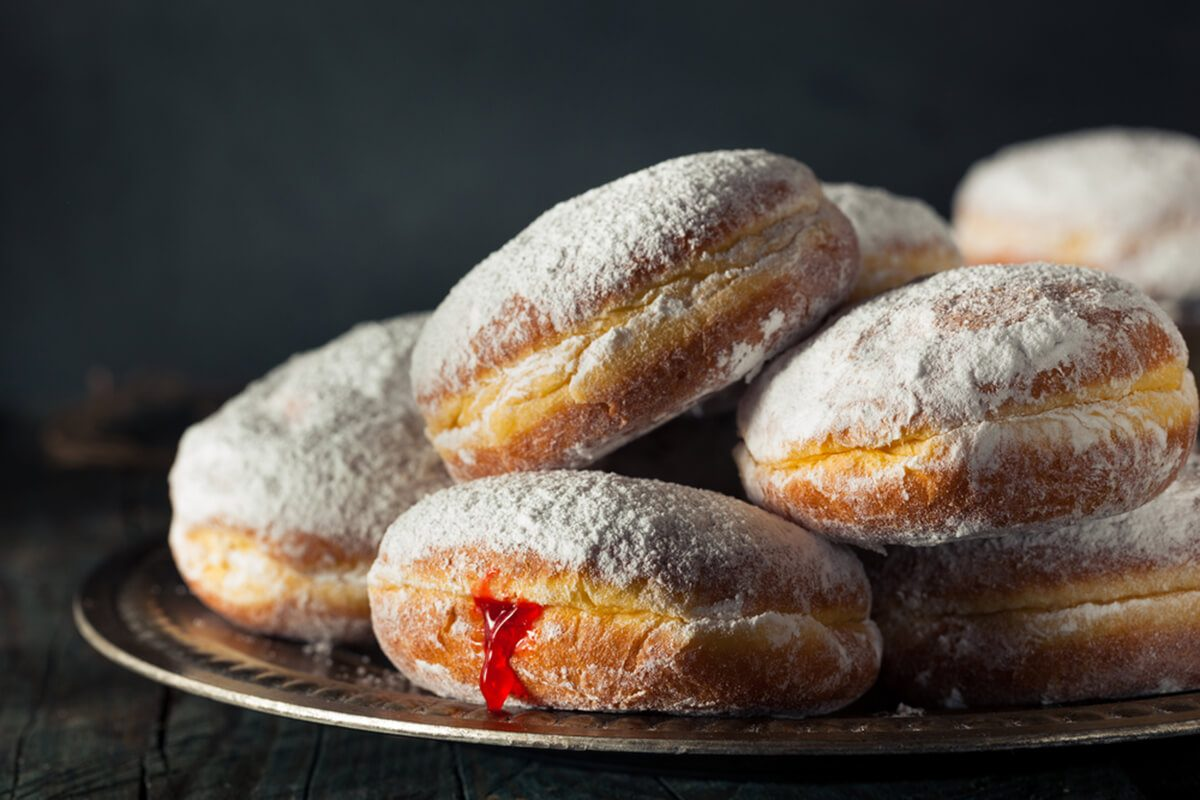 Homemade Sugary Paczki Donut with Cherry Filling