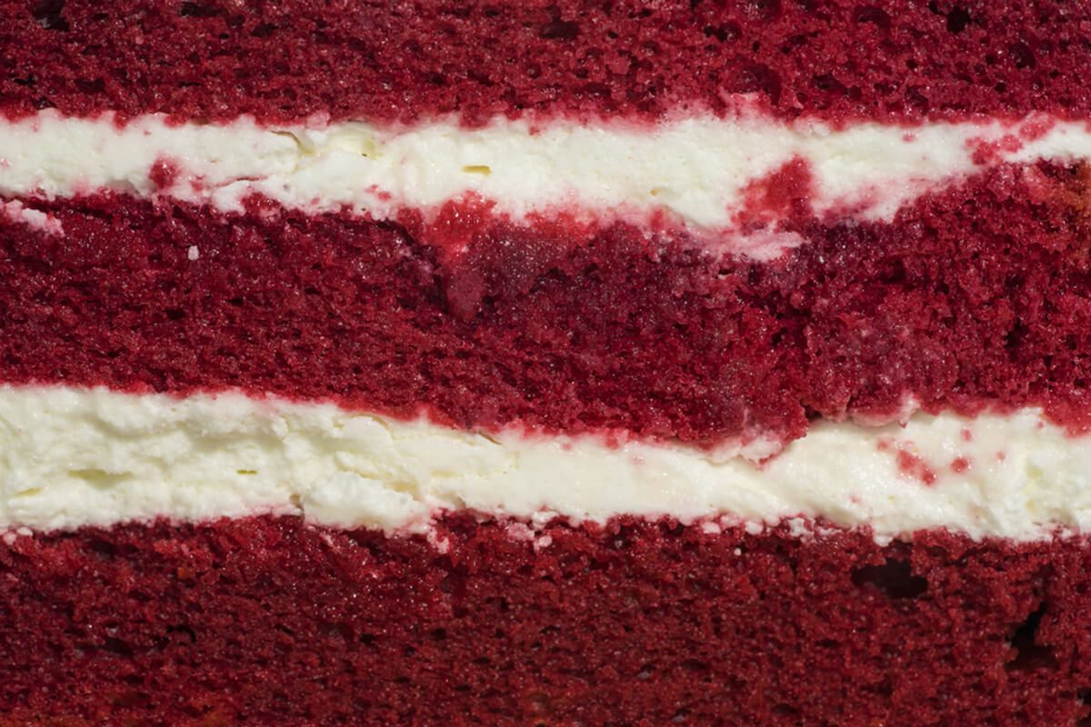 red velvet cake face cut to texture and cream