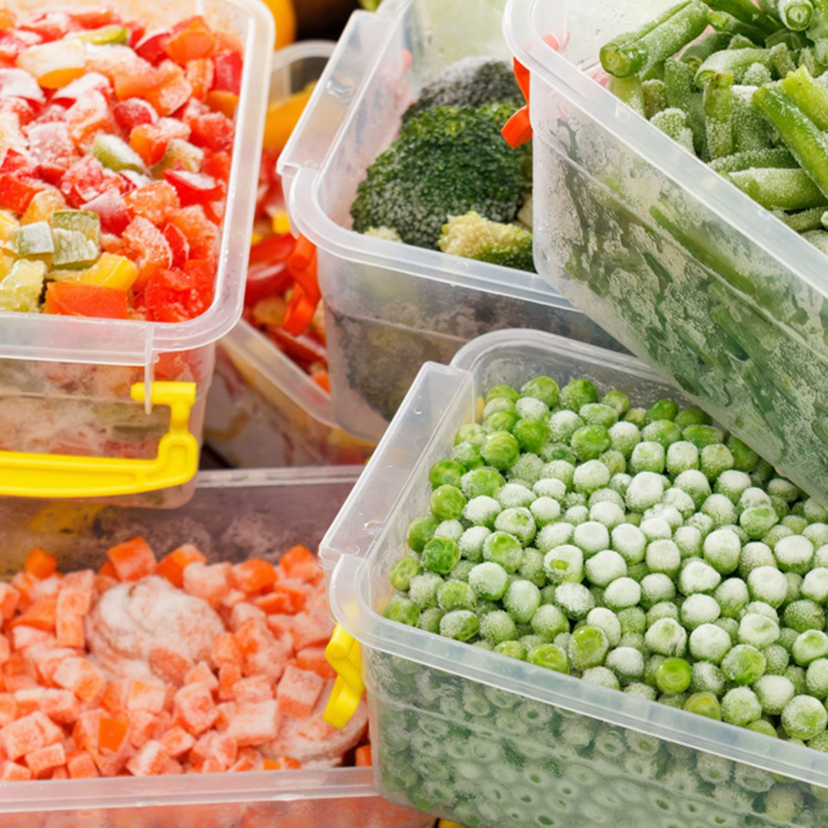 Frozen foods recipes vegetables in plastic containers. Healthy freezer food and meals.; Shutterstock ID 523974097; Job (TFH, TOH, RD, BNB, CWM, CM): Taste of Home