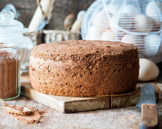 Chocolate cake sponge with ingredients