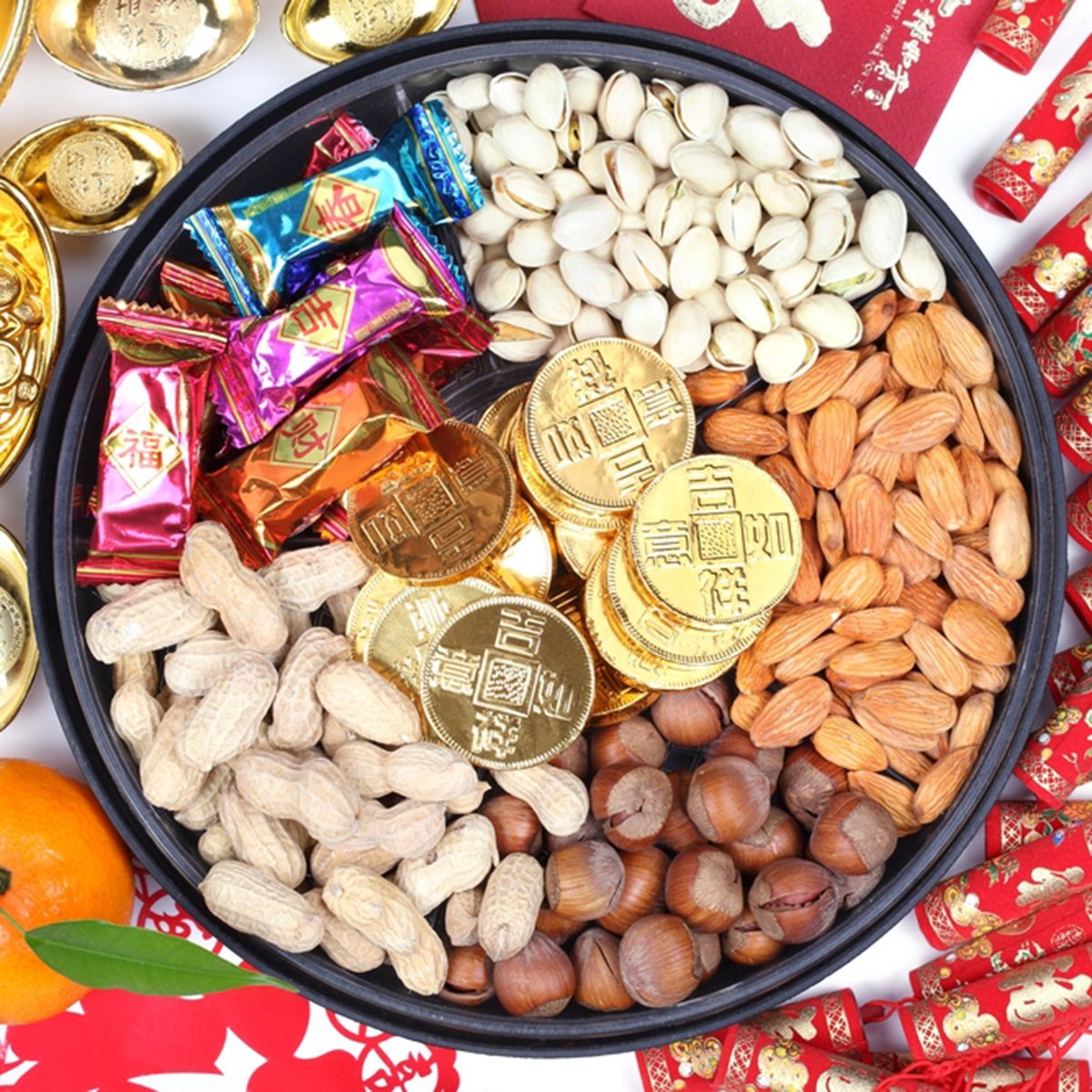 Chinese new year ornaments and candy box.; Shutterstock ID 65268727
