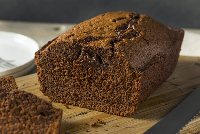 Sweet Homemade Chocolate Loaf Cake Cut in Slices