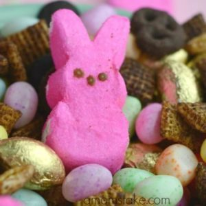 Easter snack mix with pink bunny peeps