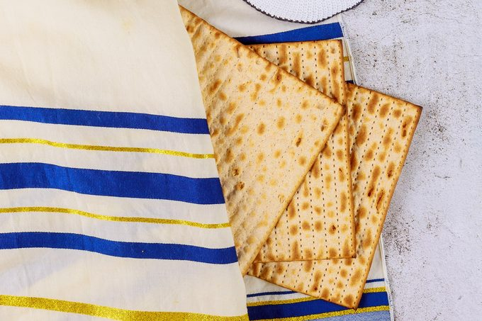 Three pieces of matzo at a Passover Seder.