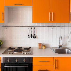 Orange kitchen set in modern style