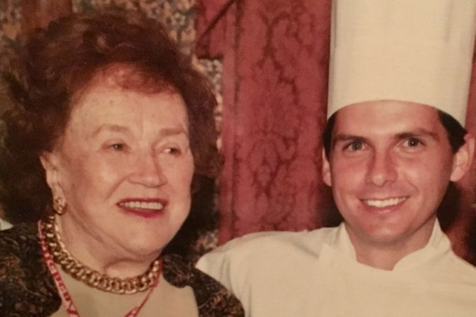 James Schend learning about Julia Child's hard boiled eggs