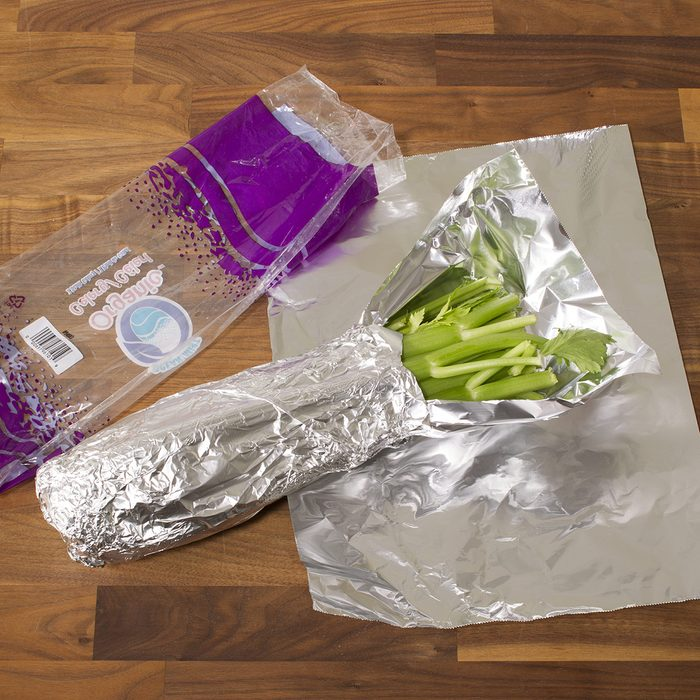 Celery wrapped in foil