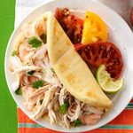 A plate with Zesty Chicken Soft Tacos