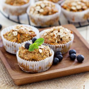 Vegan banana carrot muffins with oats and berries