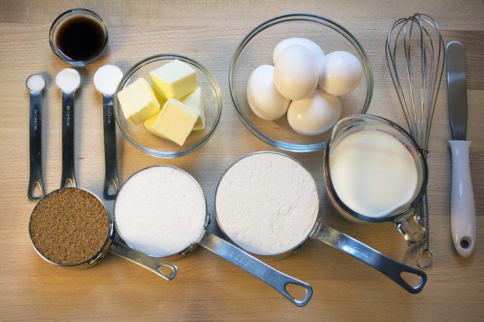 Baking Ingredients on Wooden Board;