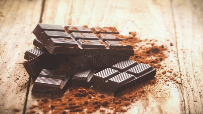 Dark chocolate on a wooden table. Acceptable on Keto diet