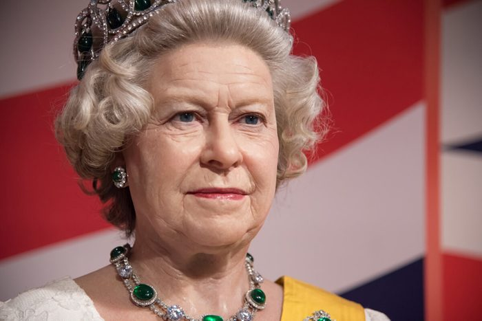BANGKOK - OCT 28: A waxwork of Her Majesty Queen Elizabeth II on display at Madame Tussauds on October 28, 2015 in Thailand. Madame Tussauds' newest branch hosts waxworks of numerous celebrities