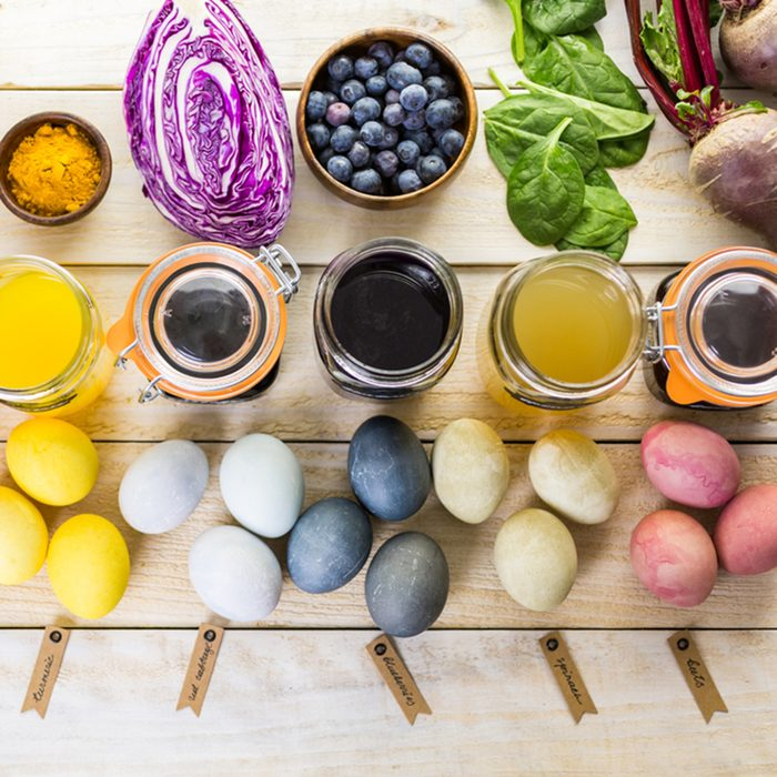 Easter eggs painted with natural egg dye from fruits and vegetables.; Shutterstock ID 391246723