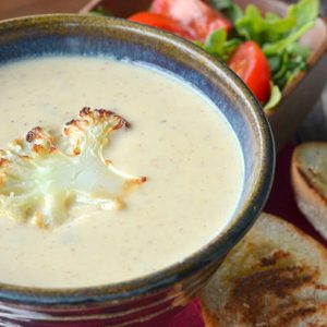 Roasted Cauliflower Soup:Shown served with grilled bread and side salad