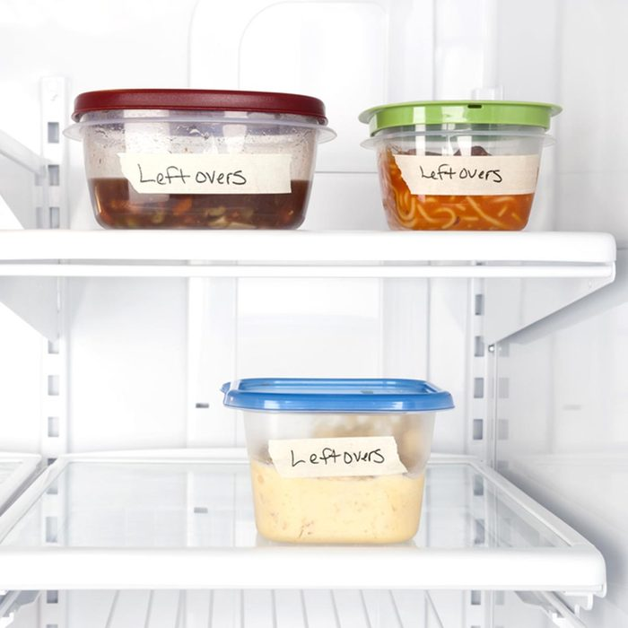 Leftover containers of food in a refrigerator for use with many food inferences
