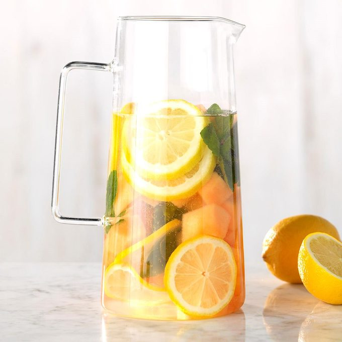 Cantaloupe, Mint and Lemon Infused Water