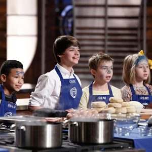 """MASTERCHEF: JUNIOR EDITION: L-R: Contestants Quani, Cade, Beni and Remy in the all-new, two-hour """"Junior Edition: Crackin' Under Pressure/Junior Edition: A Can Do Attitude"""" episode of MASTERCHEF airing Friday, April 20 (8:00-10:00 PM ET/PT) on FOX. CR: Greg Gayne / FOX. © 2018 FOX Broadcasting Co."""