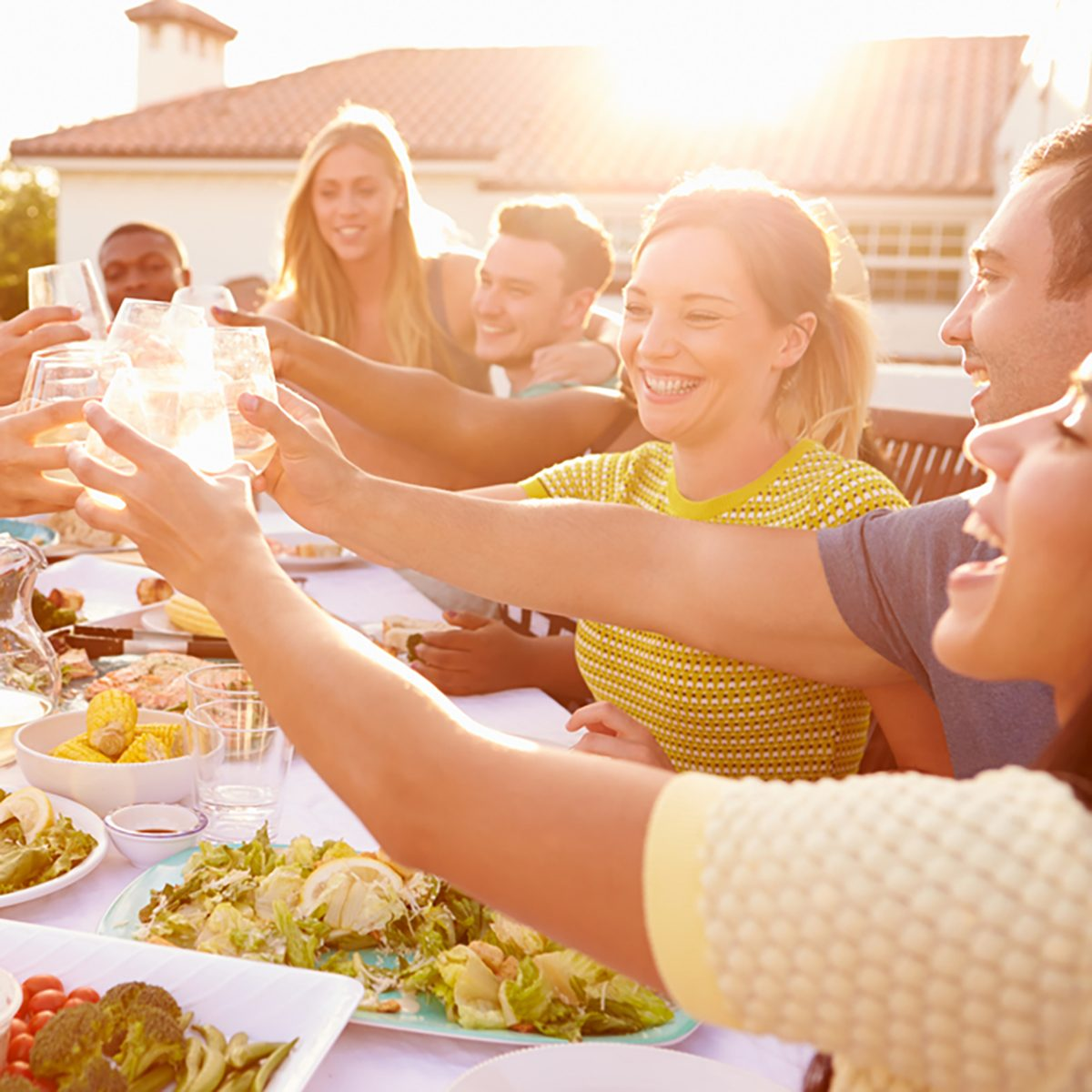Group Of Young People Enjoying Outdoor Summer Meal