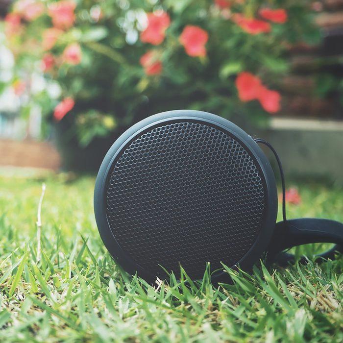 Bluetooth speaker in the garden