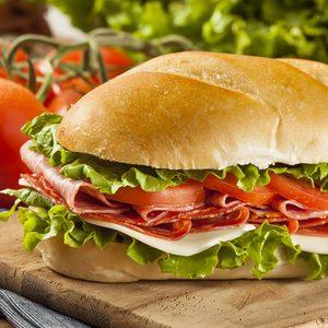 Homemade Italian Sub Sandwich with Salami, Tomato, and Lettuce