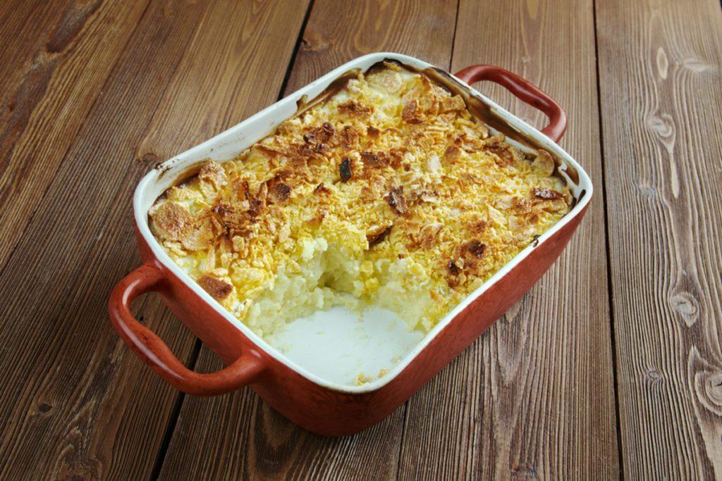 Mormon Funeral Potatoes - traditional potato hotdish, or casserole, un Intermountain West region of the United States.