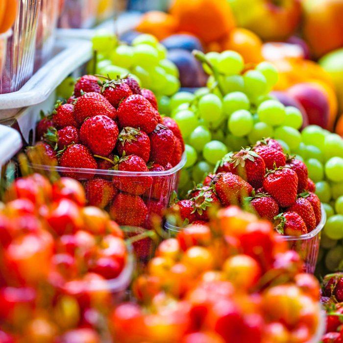 Fresh market produce at an outdoor farmer's market