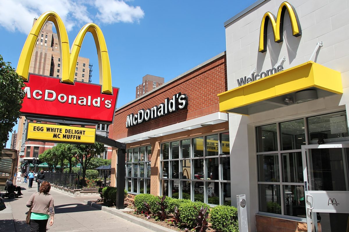 People walk by McDonald's restaurant in Chicago; Shutterstock ID 586000214