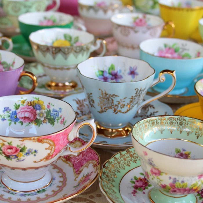 Pretty Pastel Tea Cups in Row - Afternoon Tea Party
