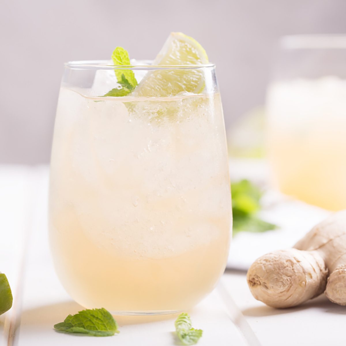 Fresh cocktail prepared with ginger beer, lime and ice. Beverage on the table. Image contains copy space for text; Shutterstock ID 771991972; Job (TFH, TOH, RD, BNB, CWM, CM): TOH